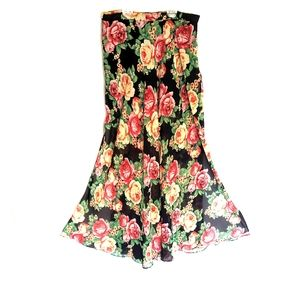 Floral Long skirt with short liner